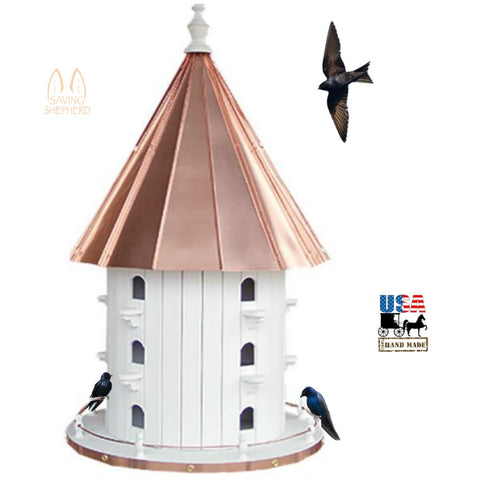 "15 Hole PURPLE MARTIN BIRDHOUSE - 35"" Copper Roof Bird House Condo"