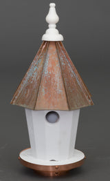"19"" BLUEBIRD HOUSE - Round Patina Copper Top Birdhouse"