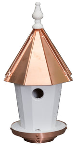"19"" BLUEBIRD HOUSE - Amish Handcrafted Round Copper Top Birdhouse"