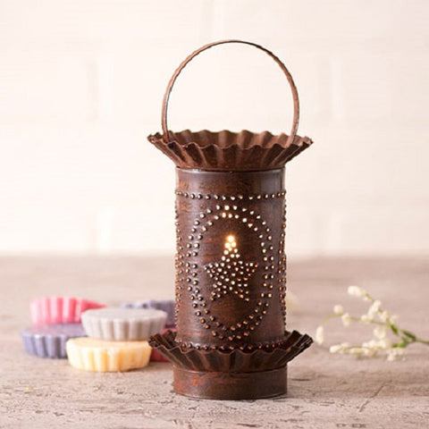 PUNCHED TIN WAX TART WARMER Handmade BARN STAR Pattern in Rustic Tin or Kettle Black