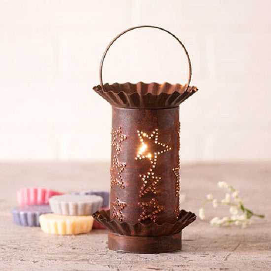 PUNCHED TIN WAX TART WARMER Handmade COUNTRY STARS Pattern Electric Accent Light in 3 Finishes