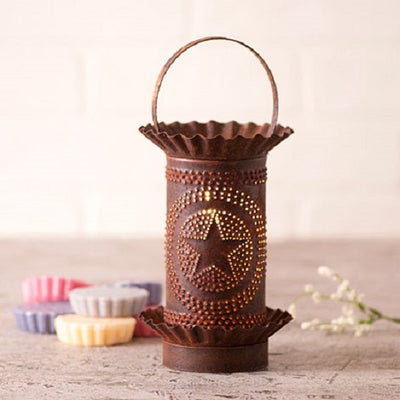 PUNCHED TIN WAX TART WARMER Handmade Country STAR in CIRCLE Pattern Electric Accent Light in 3 Finishes