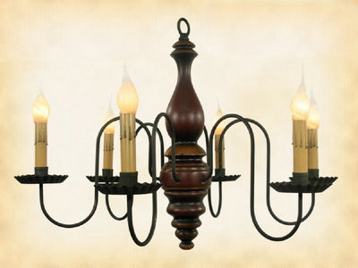 """Anderson"" WOOD CHANDELIER - Handmade 6 Candle Country Light in 24 Finishes"