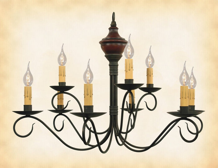 2 Tier WOOD & METAL COLONIAL CHANDELIER - Handmade 9 Candle Country Light USA