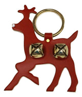 LEATHER RUDOLPH DOOR CHIME with CRYSTAL NOSE & BRASS SLEIGH BELLS - Amish Handmade in USA