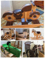 LARGE ROCKING HORSE Amish Handmade Solid Oak with Faux Leather Saddle