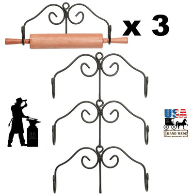 3 ROLLING PIN RACK SET - Wrought Iron Kitchen Wall Mount Holders USA HANDCRAFTED