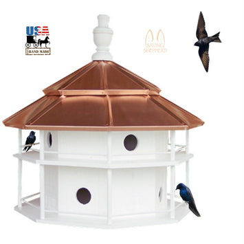 8 ROOM PURPLE MARTIN BIRDHOUSE - Copper Roof Finch Bird House USA