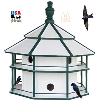 8 ROOM PURPLE MARTIN BIRDHOUSE - 2 Story White & Green Bird House USA