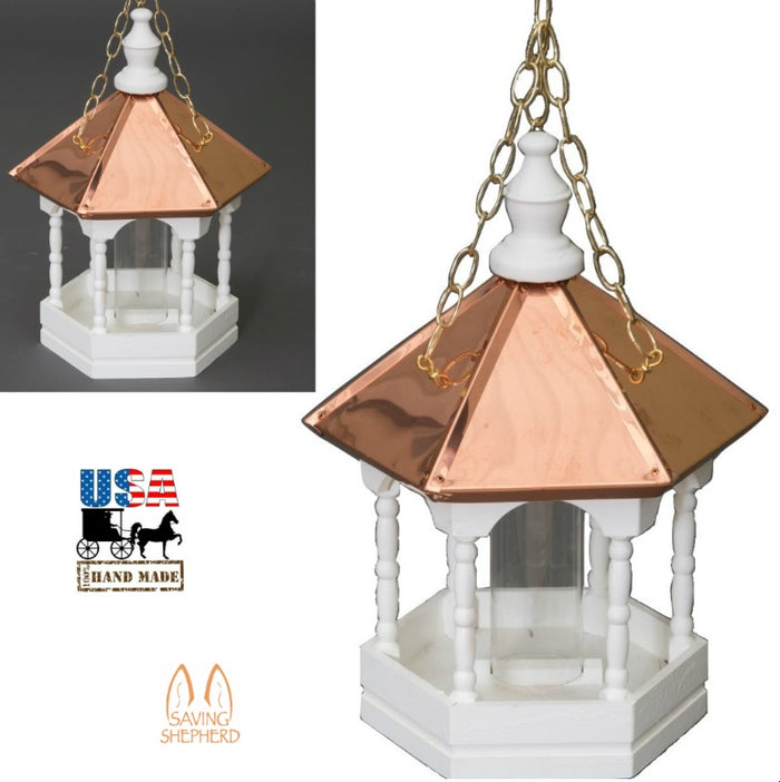 "22"" COPPER TOP BIRD FEEDER - Hanging Gazebo with Spindles"
