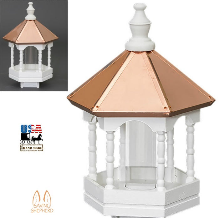 "Amish Handcrafted  22"" COPPER TOP BIRD FEEDER  GAZEBO with ELEGANT SPINDLES"