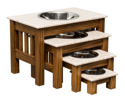 LUXURY WOOD DOG FEEDER with CORIAN TOP - Handmade Elevated Oak Stand with Bowls