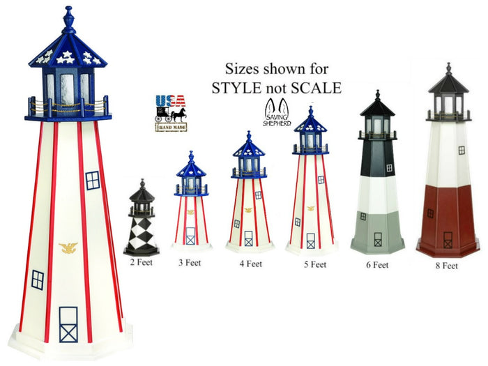 PATRIOTIC LIGHTHOUSE - White with Red Stripes & Blue Top Working Replica