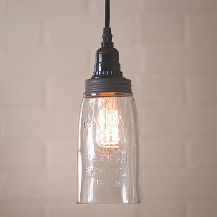 Classic Mason Jar Pendant Light - Solid Glass with 18 Foot Cord & Dimmer Switch