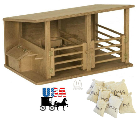 HORSE STABLE WOOD TOY Amish Handmade Wooden Equestrian Barn Stall