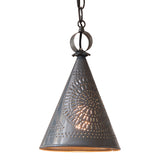 """STURBRIDGE"" PENDANT - Punched Tin Witch's Hat Cone Down Light"
