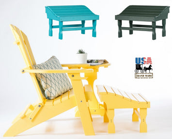 ADIRONDACK CHAIR FOOTREST - 4 Season Maintenace Free Poly Outdoor Ottoman in 19 Colors