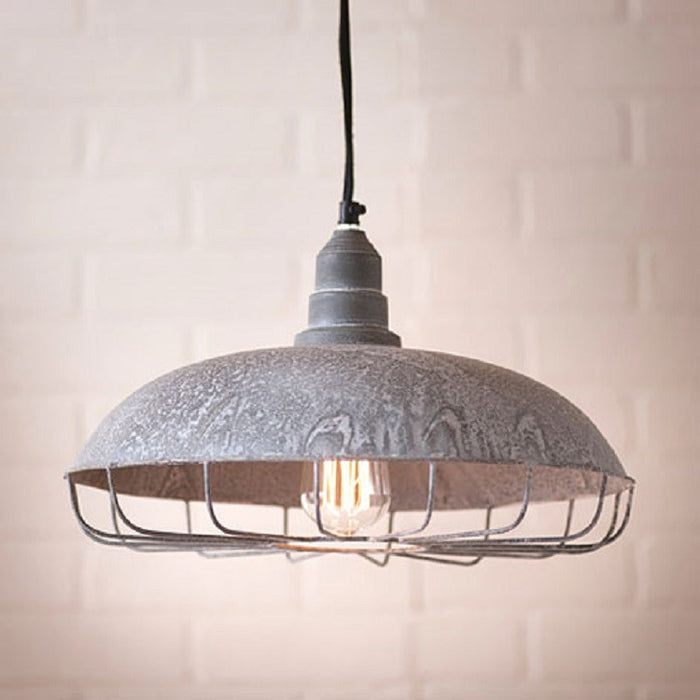 Farm Supply Store Pendant Light with Wire Protection Cage in Weatherd Zinc