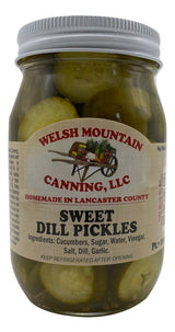 SWEET DILL PICKLES - 16 & 32 oz Jars Amish Homemade in Lancaster USA
