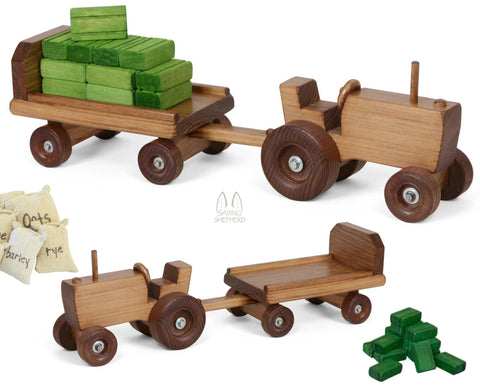 FARM TRACTOR with TRAILER CART HAY BALES & FEED SACKS Handmade in USA Wood Toy