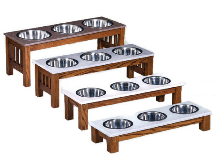TRIPLE DISH DOG FEEDER - LUXURY WOOD with CORIAN TOP - Handmade Elevated Oak Stand with Bowls