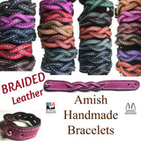 BRAIDED LEATHER BRACELET - Amish Handmade Men's Women's Cuff Wrap in 12 COLORS