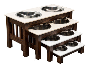 DOUBLE DISH DOG FEEDER - LUXURY WOOD with CORIAN TOP - Handmade Elevated Oak Stand with Bowls
