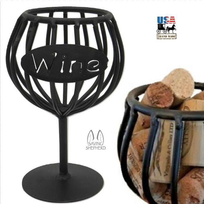 WINE CORK HOLDER - Wrought Iron Glass Storage Rack USA