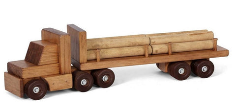 LOGGING TRACTOR TRAILER TRUCK with 10 Log Cargo Load USA HANDMADE