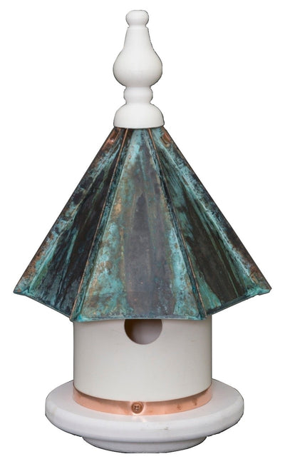 "13"" WREN BIRDHOUSE - Azek Vinyl Bird Condo with Patina Copper Roof"