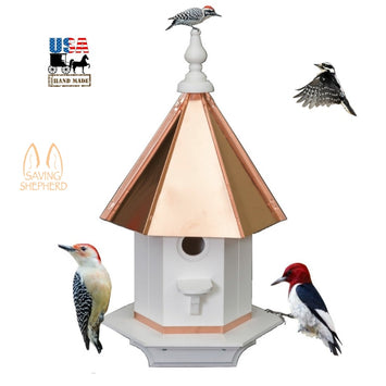 WOODPECKER BIRDHOUSE - Poly Azek Vinyl with Copper Roof Bird House