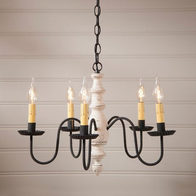 """COUNTRY INN"" WOODSPUN CHANDELIER in 5 Primitive Americana Finishes"