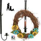 WREATH HOOK & CANDLE HOLDER - Wall Mount Wrought Iron Holiday Decor Hanger