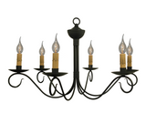 """WASHINGTON"" COLONIAL CHANDELIER - Handcrafted 6 ARM Metal Candelabra Light USA"