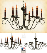 "2 Tier SCROLLED COLONIAL 9 ARM CANDLE CHANDELIER ""Washington"" Metal Candelabra USA"