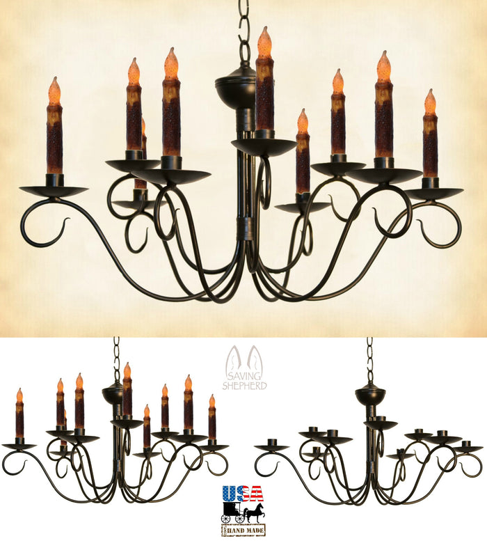 2 Tier SCROLLED COLONIAL 9 ARM CANDLE CHANDELIER