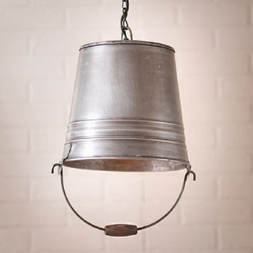 Garden Water Bucket Pendant - Antique Tin Finished Hanging Light
