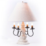 "HARRISON COLONIAL TABLE LAMP with 17"" Ivory Linen Fabric Shade - 5 Distressed Finishes USA"