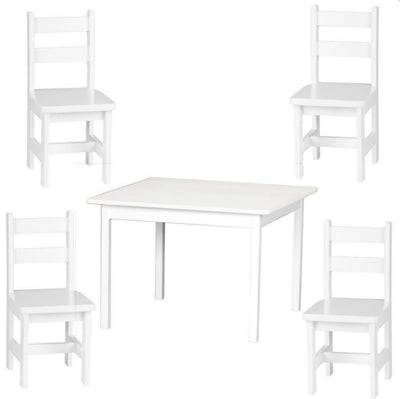 4 CHAIRS & TABLE 5pc PLAY SET - Handmade Wood Toy Furniture - WHITE or HARVEST Finish