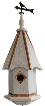 BIRDHOUSE with BIRD FINIAL - 7 Vibrant Colors with Copper Trim & Accents