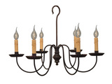 """WILCOX"" COLONIAL 6 ARM CHANDELIER - Handcrafted Metal Candelabra Light USA"