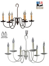 """WILCOX"" COLONIAL 6 ARM CHANDELIER - Handcrafted Candelabra in 2 Finishes"