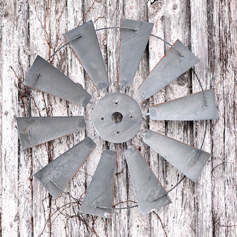 "36"" LARGE WINDMILL WALL HANGING - Indoor/Outdoor Farmhouse Decor in Weathered Zinc Finish"