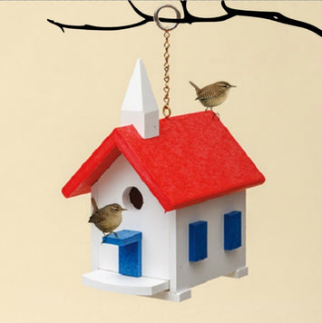 CHAPEL WREN BIRD HOUSE - Weatherproof Poly Country Church in 10 Colors USA