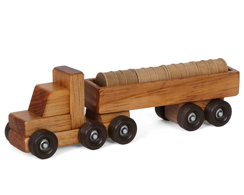 WOOD BARREL TRACTOR TRAILER TRUCK Amish Handmade Wooden Toy with Cargo