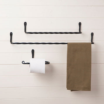 COMPLETE TWISTED WROUGHT IRON BATH SET - 2 Towel Bars & Toilet Paper Holder