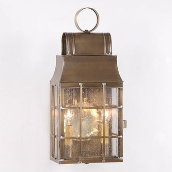 Weathered Brass LANTERN WALL LIGHT with Seedy Glass Colonial Outdoor Sconce Made in the USA