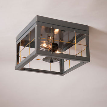 Handcrafted Double Socket Ceiling Light Country Tin Brass Bars