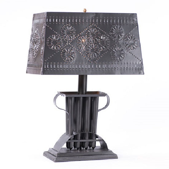 CANDLE MOLD TIN TABLE LAMP with Rectagular Punched Tin Shade & 3-Way Switch