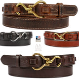 EQUESTRIAN LEATHER BELT - Unique Horse Hoofpick & Loop Closure